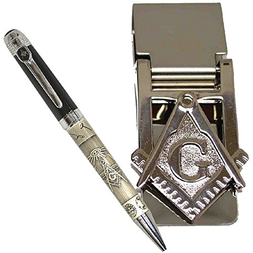 Freemason Two-Toned Black And Pewter Ballpoint Pen And Masonic Money Clip