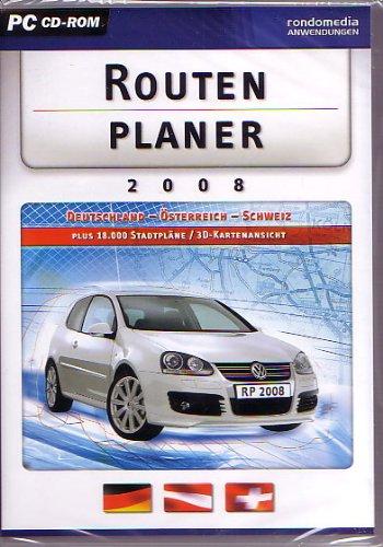Routenplaner 2008, CD-ROM Deutschland, Österreich, Schweiz. Für Windows 2000, XP, Vista. Plus 18.000 Stadtpläne/3D-Kartenansicht