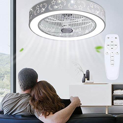 Anciun Deckenventilator Mit Beleuchtung und Fernbedienung LED Ventilator Deckenleuchte Innen Leise Lampe Moderne Deckenlampe Kinderzimmer Schlafzimmer Wohnzimmer Fan Lampe Kronleuchter Weiß 40W