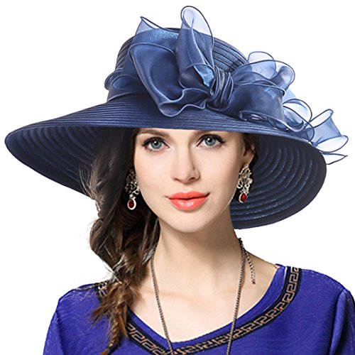 VECRY Lady Derby Dress Church Cloche Hat Bow Bucket Wedding Bowler Hats (Wide Brim-Navy)