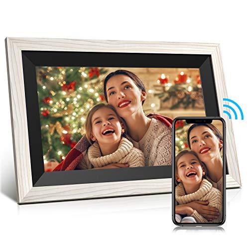 JEEMAK WiFi Digitaler Bilderrahmen 10.1 Zoll IPS Touchscreen, Automatische Drehung, Einfache Einrichtung zur Gemeinsamen Nutzung von Fotos und Videos, Wandmontierbarer Digitaler Bilderrahmen (weiß)…