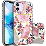 CoverON Marble Designed for Apple iPhone 12 Pro Case/iPhone 12 Max Case (6.1'), Slim Scratch Proof Hard Back TPU Grip Phone Cover - Flower Glitter