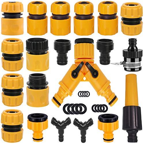 Kit de connecteur de tuyau d'arrosage: connecteur de réparation rapide de tuyau, séparateur de tuyau en Y, adaptateur fileté mâle, robinet de tuyau à 2 voies et connecteur de robinet universel, etc.