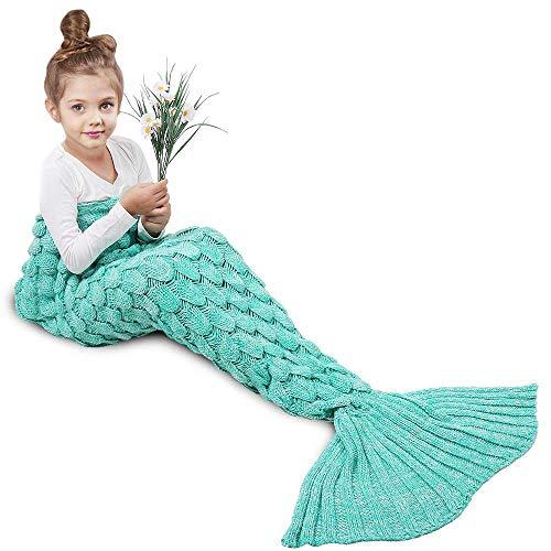 AMYHOMIE Meerjungfrau Decke, Handgemachte häkeln meerjungfrau Flosse Decke für Kinder, Mermaid Blanket alle Jahreszeiten Schlafsack (Scale Green, Kids)