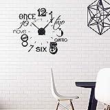 GRAZDesign Wandtattoo Uhr mit Uhrwerk - Wanduhr für Wohnzimmer - Zahlen international modern 67x57cm Farbe schwarz/Uhrwerk schwarz