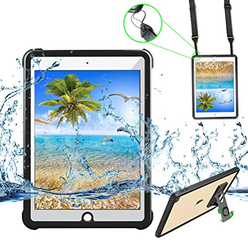 iPad 2017/iPad 2018 Waterproof Case,Yuvictor IP68 Full Sealed Protection Built in Screen Protector Shockproof Snowproof Dustproof Tablet Cover for iPad 2017/2018 9.7 inch (Black/Transparent)