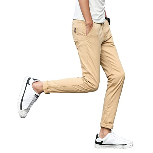 9f48b584981 Plaid Plain Men s Stretchy Khaki Pants