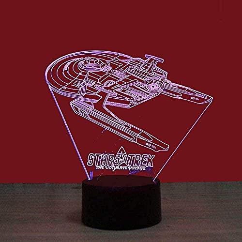 Lámpara de noche 3D ilusión 3D luz nocturna Star Trek una colorida 3D luz nocturna interfaz USB creativa luz visual Touch Art Lightcloset con interruptor remoto