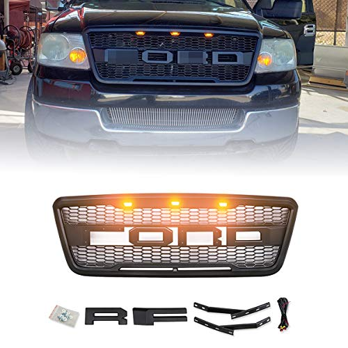 ALL4ROLL Raptor Grill Fit for F150 2004-2008, Front Grille Compatible with Ford F150, Including XL XLT Lightning King Ranch and Limited 2004 2005 2006 2007 2008 w/Letters, Black