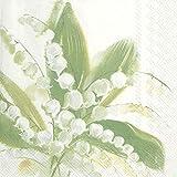 IHR Mayflower - Tovaglioli da tavola in carta, motivo: mughetto bianco della valle, 50,8 cm, confezione da 33 cm quadrati