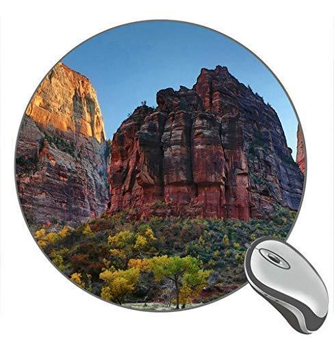 Zion National Park Utah USA Rock Mountains Bäume Natur Runde Desktop-Mauspad Gaming Rubber Mouse Pad