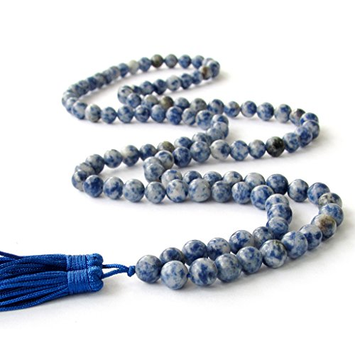 OVALBUY 8mm 108 Blue White Stone Beads Buddhist Prayer Mala Necklace/Wrist Mala
