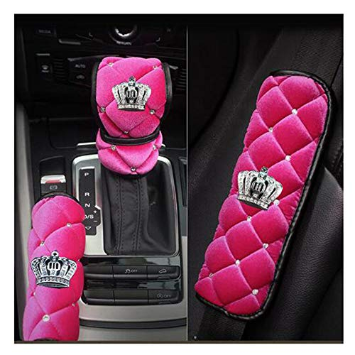 LuckySHD Plush Handbrake Cover Gear Shift Cover Seat Belt Cover 3 in 1 with Rhinestone Crown - Pink