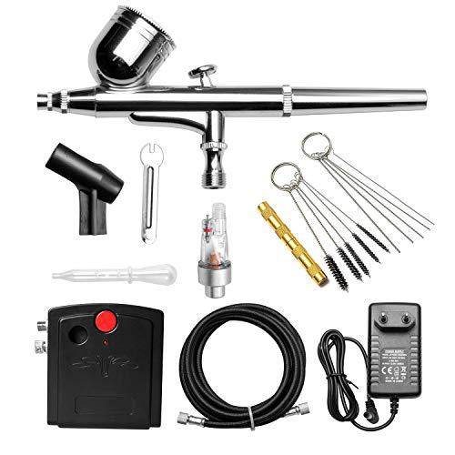 Poweka Airbrush Set Double Action Airbrushpistole Luftkompressor Kit einschließlich Kompressor und Reinigungsset, Lackierpistole für Werbeillustrationen, Bodypainting, Modellbau, Nail Design