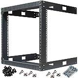 Kenuco Black 9U Wall Mount Open Frame Steel Network Equipment Rack 17.75 Inch Deep - Black - 9U - W19'' x D17.75'' x H19.25''