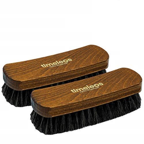 TIMELEOS Schuhbürste aus Rosshaar für optimale Schuhpflege | Rosshaarbürste | Glanzbürste | Schuhputzzeug | Schuhpolierbürste | Bürste | Schuhpflege (Dunkel 2er Set)