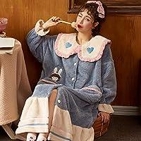 女性のパジャマ秋と冬のコーラルフリースプラスベルベット長い夜のガウンかわいいフード付きの家の摩耗,E,L