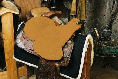 Engel paardrijsport lamsvel zadelbekleding Western (Sabez 3, met hoornuitsnijding/hoorndoorlaat) kleurrijk: 12 kleuren naar keuze