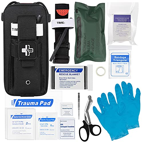 Emergency Trauma Kit with CAT Tourniquet, Emergency Treatment Care EMT First Aid Kit 【Black】