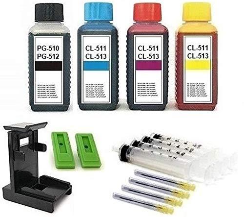 Tintenpatronen Nachfüllset - 400 ml Premium Refill-Tinten für PG-510, PG-512, CL-511, CL-513 Drucker-Patronen. Je 100 ml Black, Cyan, Magenta, Yellow, mit Adapter, Befüll-Anleitung, Zubehör