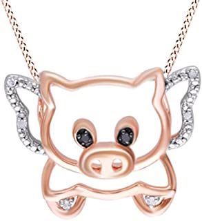 Black & White Natural Diamond Accent Flying Pig Pendant in 14K Two Tone Gold Over Sterling Silver