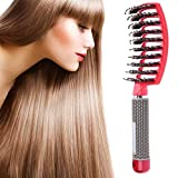 Nicute, Brosses à cheveux en poils de sanglier pour cheveux bouclés et emmêlés