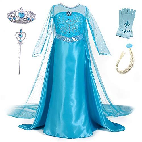 New front Vestido de Princesa Elsa Vestido Frozen Niñas Disfraz Traje de Cumpleaños ninas Fancy Dress nina Disfraz Elsa Princesa Cosplay con Accesorios traje de arrastre 3-10Años 110-150cm