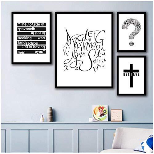Moderne Buchstaben Fragezeichen Kreuz Poster, 3 Panel abstrakte Wandkunst, minimalistische Malerei nordischen Stil, Heimtextilien Malerei -50x70cm kein Rahmen