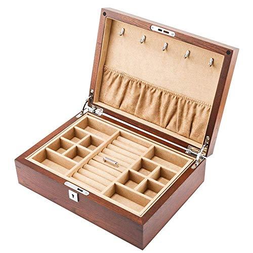 ALIANG Caja de Almacenamiento de Madera de la colección de la Pulsera de los Pendientes de la joyería de la Capa Doble con la Cerradura