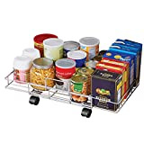 Flat Rolling Floor Shelf Metal Storage Cart - Expandable to 24' W - Slim Cart Holds Up to 22 Lbs. on 4 Caster Style Wheels, Fits Under Beds, Desks or Shelving