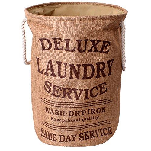 teprovo Ring Deluxe Laundry Basket Wäschesack Schmutzwäschesammler Wäscheaufbewahrung Korb Metallring 50l Canvas Leinenoptik beige