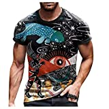 Yowablo Top T-Shirt Hommes D'été Décontracté Imprimé 3D Chemisier À Col Rond À Manches Courtes (XL,3Noir)
