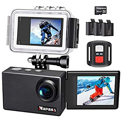 Napasa Action Camera 4K Ultra HD WiFi Sports Camera Underwater Wide Angle 170° with Remote Control and Helmet Accessories Kit by Napasa