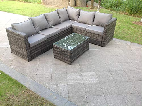 Fimous 6 Seater Grey Right Hand Rattan Corner Sofa Set Coffee Table Garden Furniture Outdoor