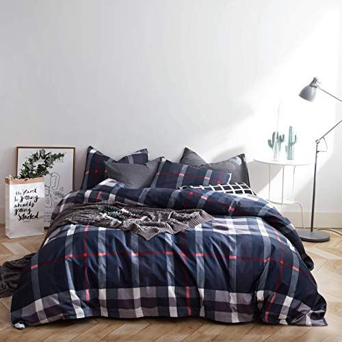 SUSYBAO 3 Piece Duvet Cover Set King Size 100% Cotton Navy...
