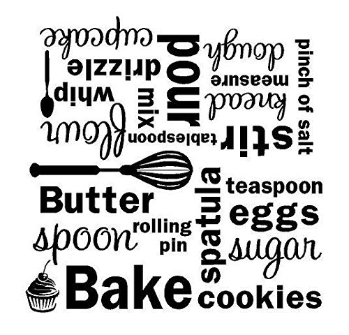Yilooom Kitchen Bake Mixer Vinyl Wall Decal Wall Quote Subway Art Letters Sticker Words 22 Inch In Width
