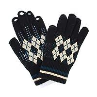 [ユビデル] 指紋認証ラクラク あったか 抗菌防臭 レディース ニット手袋 滑り止め付 日本製 ブラック
