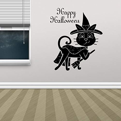 guijiumai Happy Halloween Magic Cat Wandaufkleber Für Hintergrund Windows Dekorationen Von Home Office School Store Und Sho57X48CM