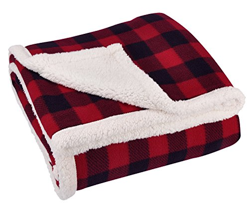 Black and red buffalo check farmhouse style throw blanket.