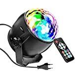 SaponinTree Lampe de Scène pour Disco, 7 RGB Couleur Lumière Fête Commande Sonore Mini Projecteur Boule Cristal avec Télécommande, pour Fête/Noël/Bar/Club/DJ Disco.