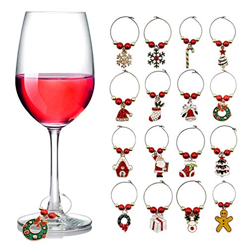 Wine Glass Charms Christmas Themed Wine Glass Markers Tags Identification Wine Charms for Stem Glasses, Wine Drinker Gift Wine Tasting Party Favors Decorations Set of 16