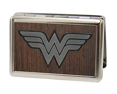 Buckle-Down Business Card Holder - Wonder Woman Logo Marquetry Black Walnut/Metal - Large