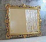 Artissimo Specchio da parete dorato, decorazione barocco, specchio da parrucchiere, specchio da corridoio, 43 x 37 cm