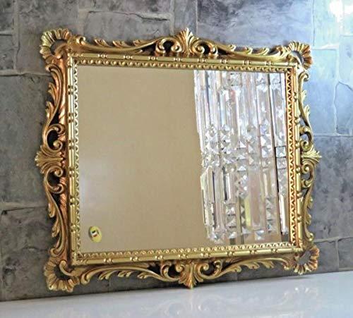 Artissimo - Specchio da parete con ornamenti dorati, da parrucchiere, da corridoio, 43 x 37 cm