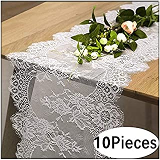 B-COOL Vintage White Lace Table Runner for Rustic Boho Wedding Bridal Shower Decorations, Exquisite Embroidered Floral Table Runner 14 Inch x 120 Inch 10 pieces