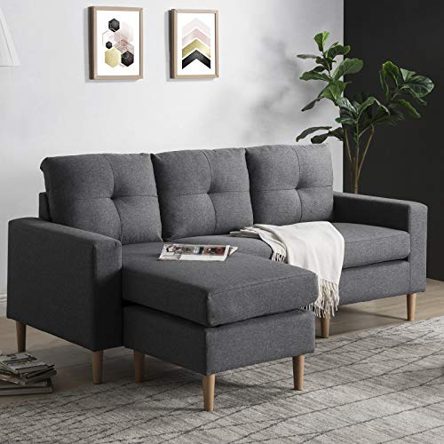 TITA-DONG Divano ad angolo in tessuto a forma di L, divano a 3 posti con salone, lato sinistro e destro, colore: grigio