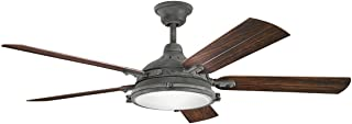 Indoor Ceiling Fans 4 Light with Weathered Zinc Finish Candelabra Bulb 60 inch 160 Watts
