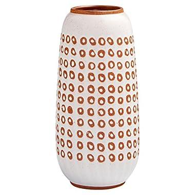 Stone & Beam Modern Rustic Ceramic Vase, 11.25  H, White/Terra Cotta