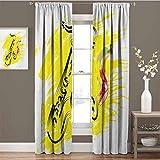Jazz Music - Cortinas opacas para dormitorio, diseño de saxofón estilizado, color pintura, fondo de salpicaduras, diseño artístico, para sala de estar, color amarillo y negro