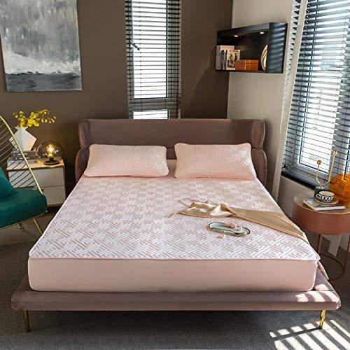 FJMLAY Sábanas ajustablesperfecto para el colchón, sensación Suave,protección Antideslizante para el apartamento del Dormitorio-Pink_4_150x190cm